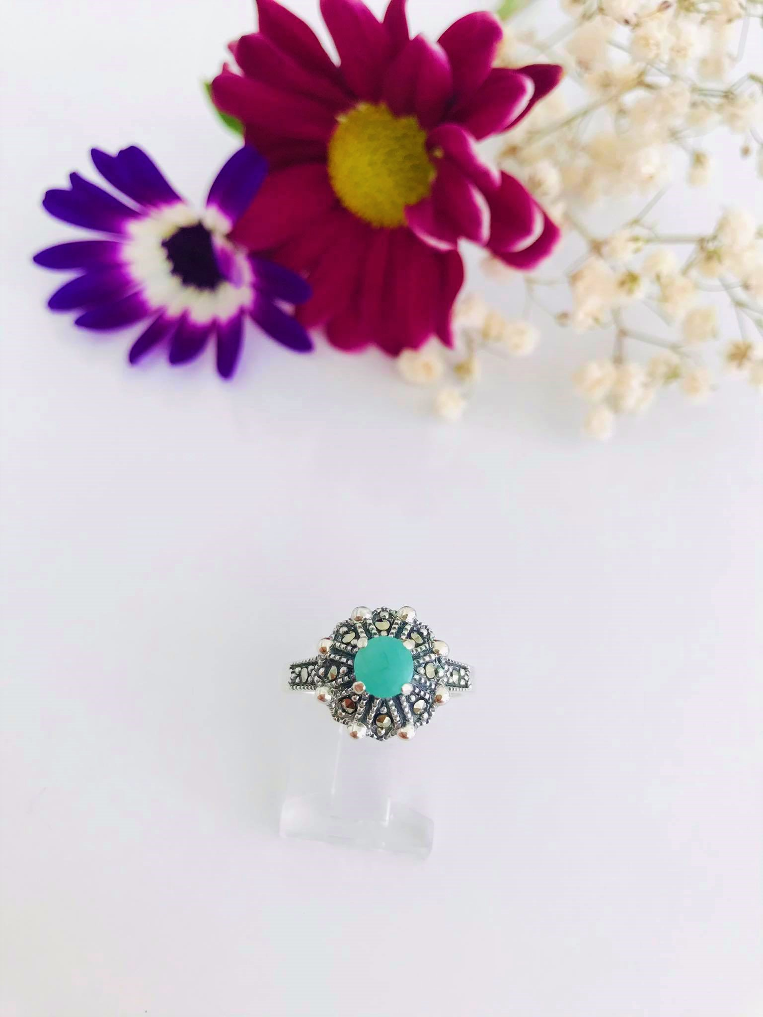 Emerald & Marcasite Silver Ring Image