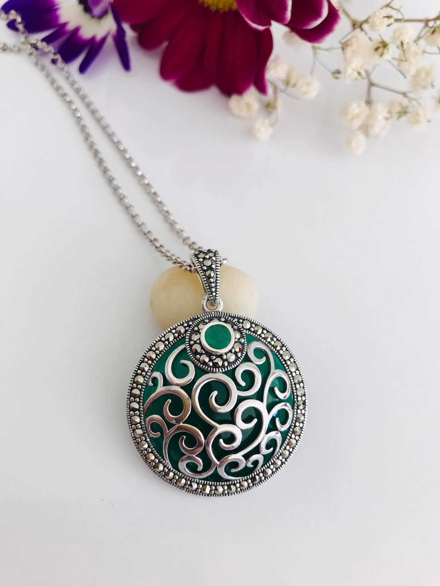Emerald & Green Onyx Marcasite Necklace Image