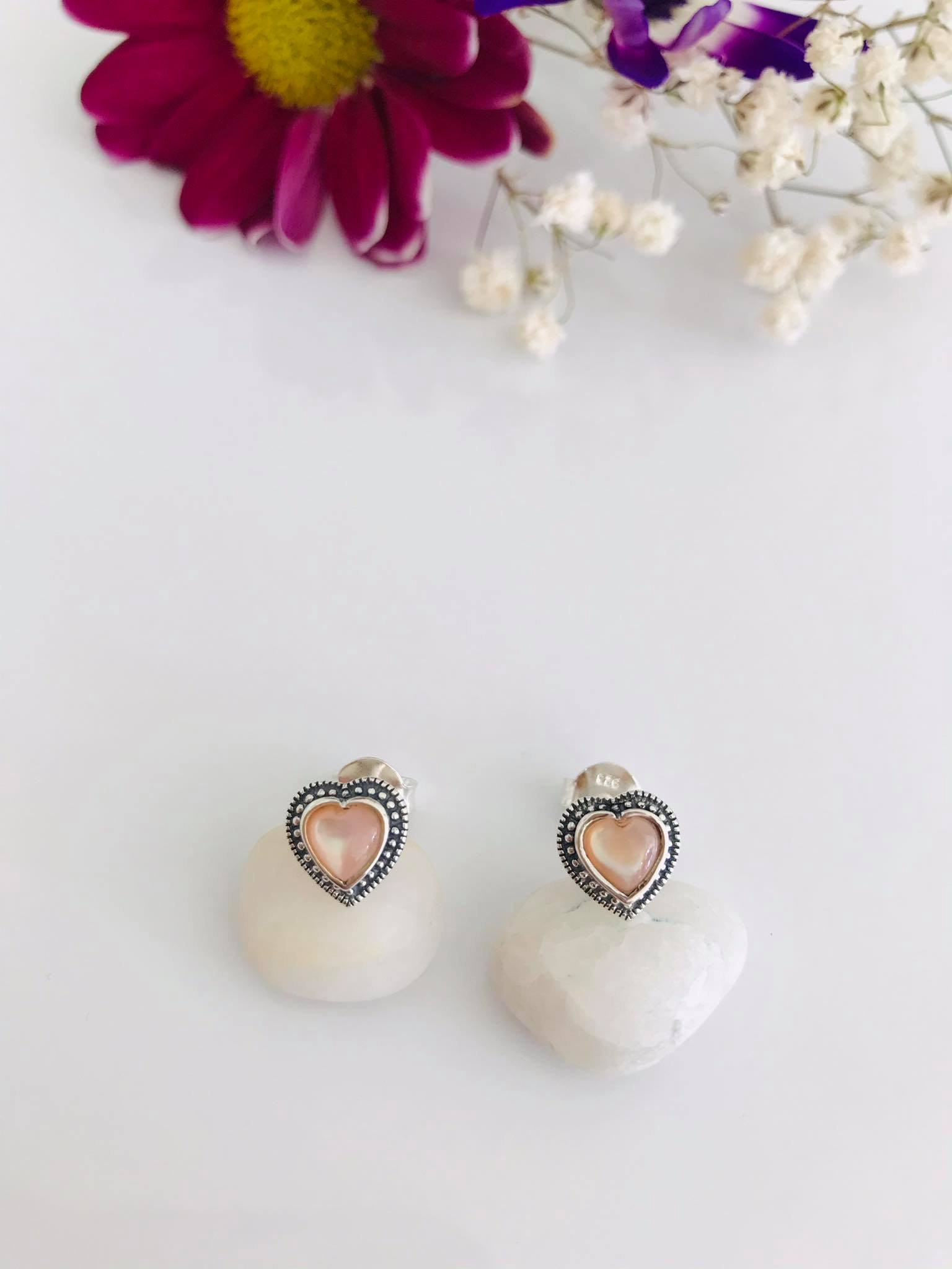 Pink Mother of Pearl and Marcasite Silver Earrings Image