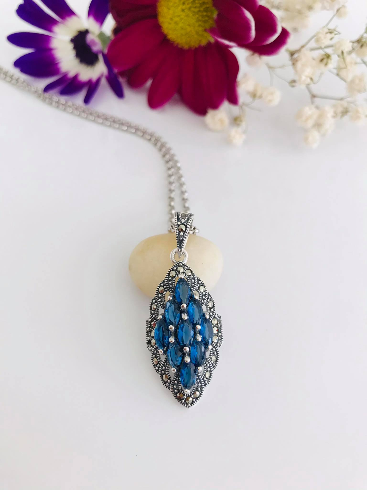 Pave Set Silver Pendant with 9 beautiful Sapphire and Sparkling Marcasite Necklace Image