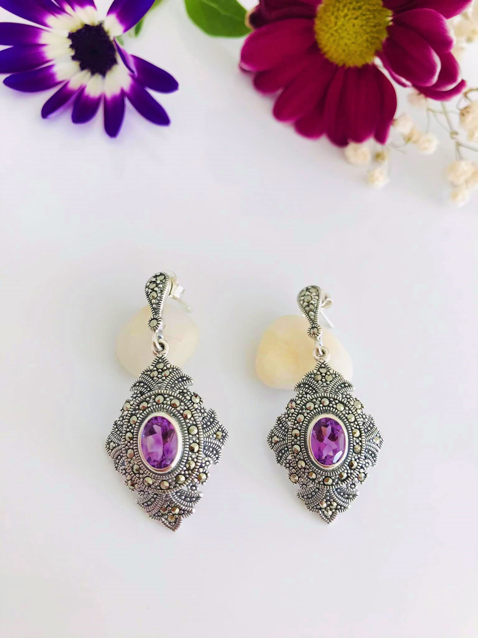 High Grade Amethyst & Marcasite Silver Earrings Image