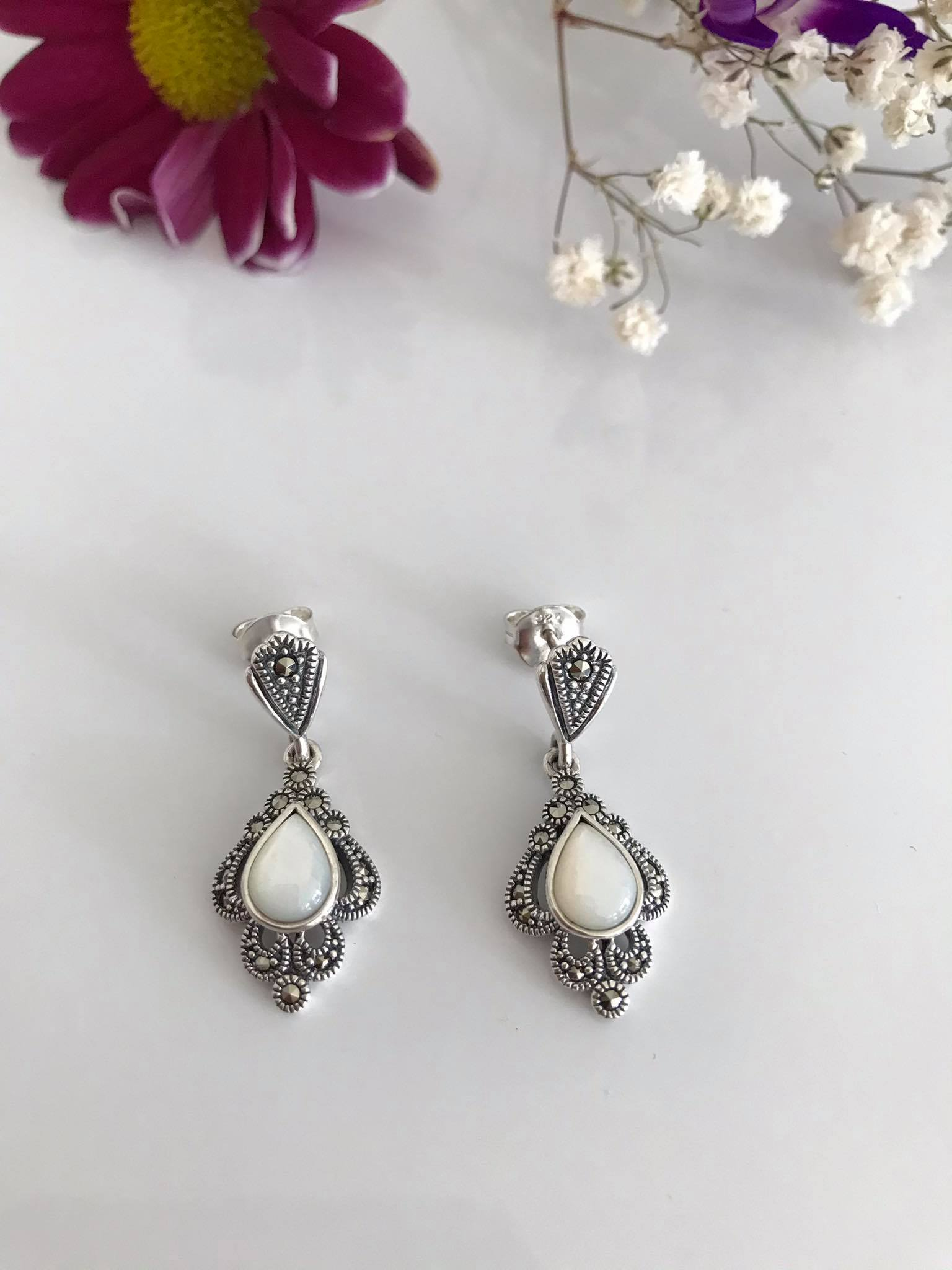 Mother of Pearl & Marcasite Silver Earrings Image