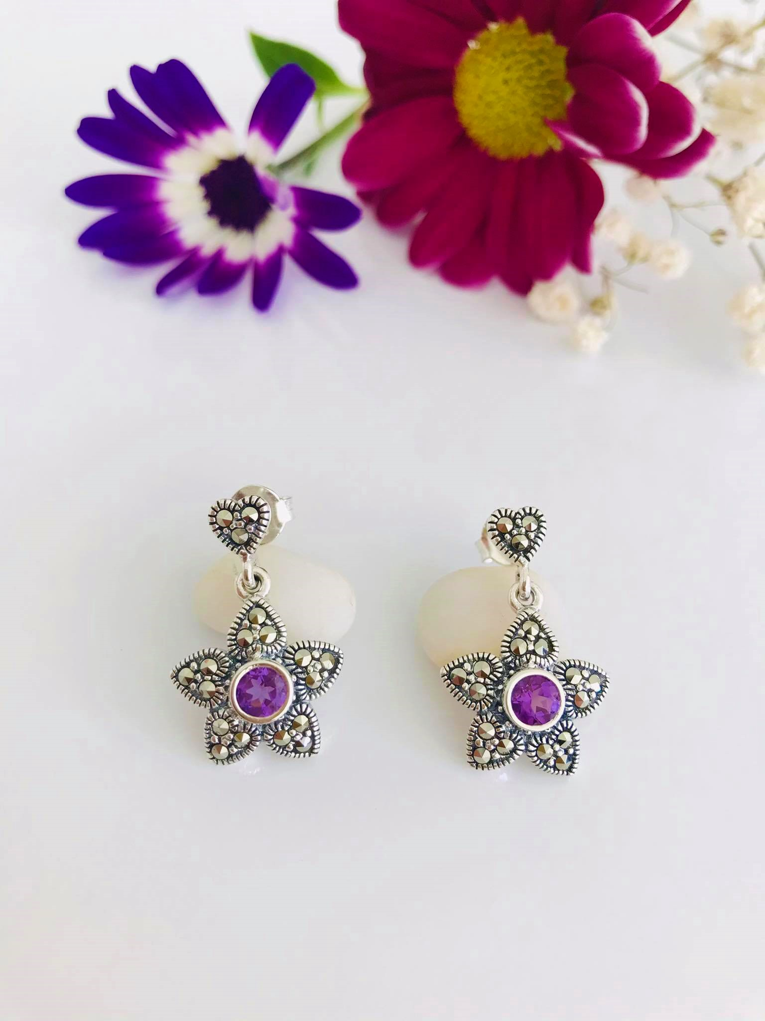Amethyst & Marcasite Silver Earrings Image