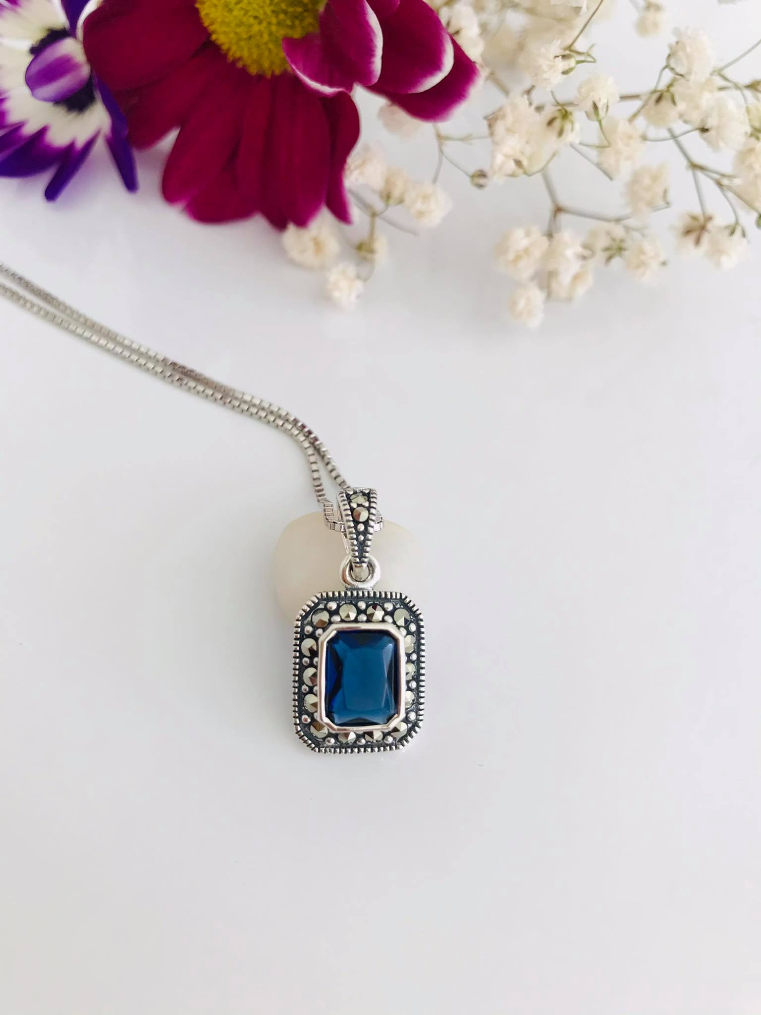 Sapphire & Marcasite Silver Necklace Image