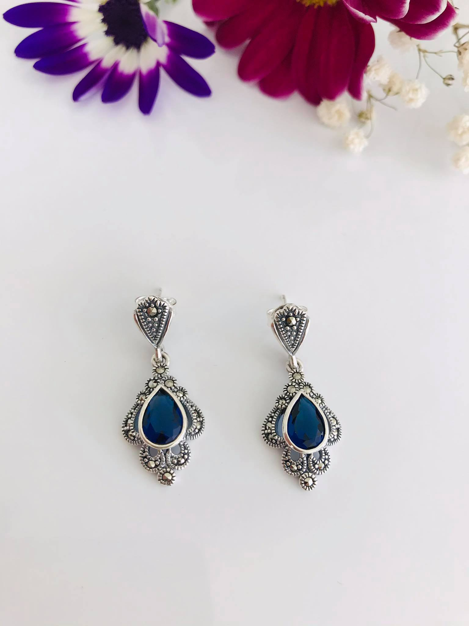 Sapphire Marcasite Silver Earrings Image