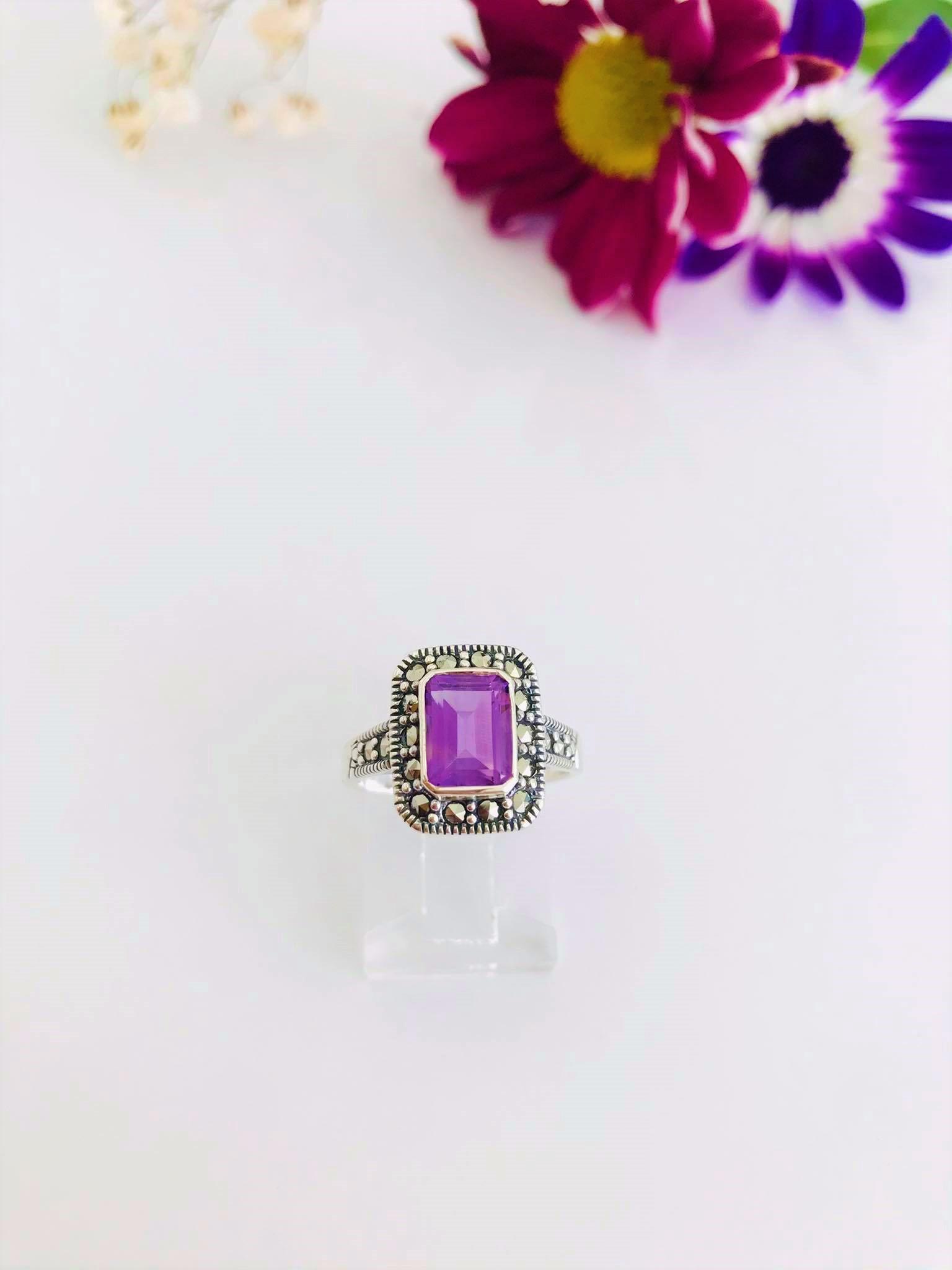 High Grade Amethyst & Marcasite Silver Ring Image