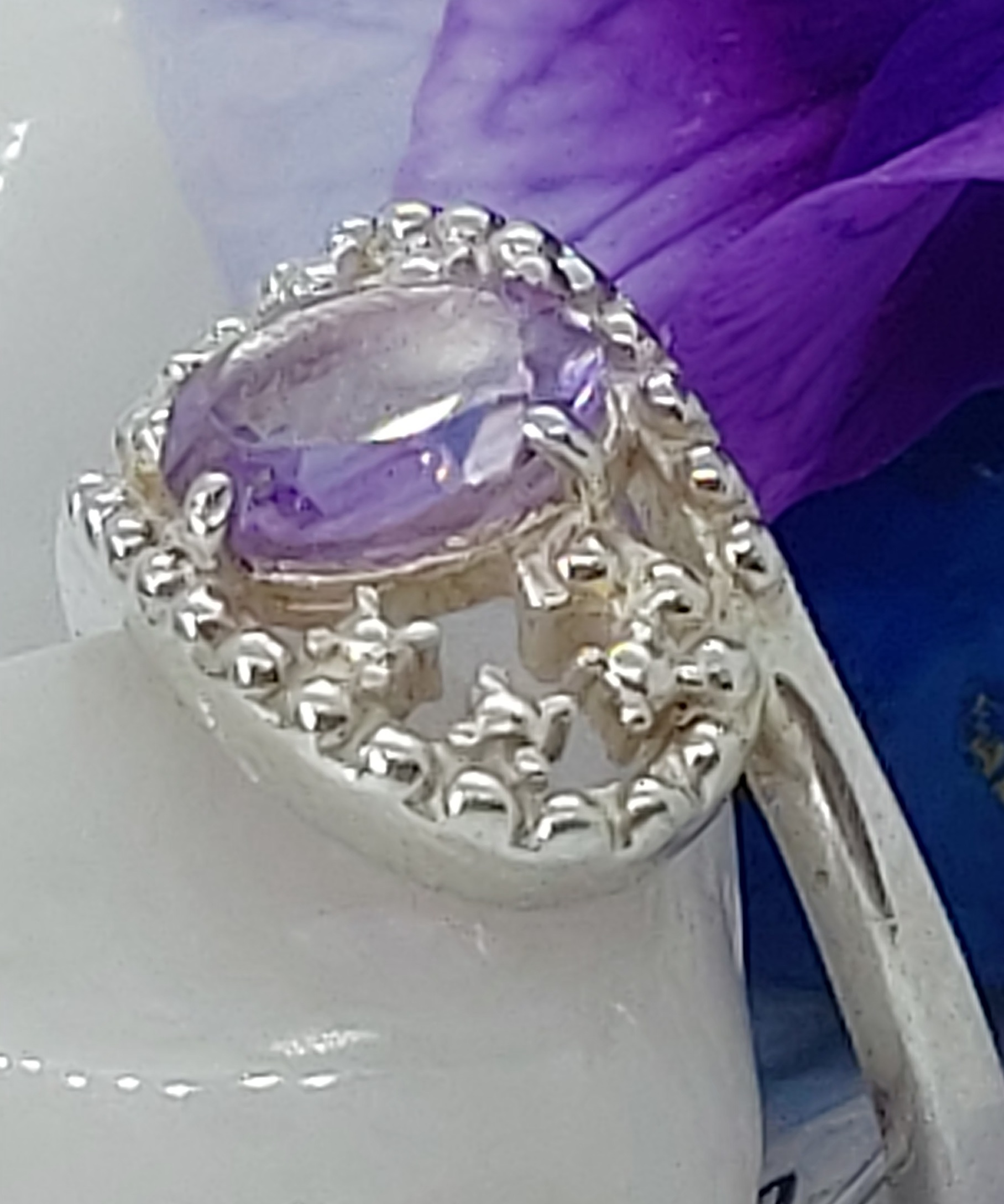 Sterling Silver Amethyst Ring size 7.5 Image