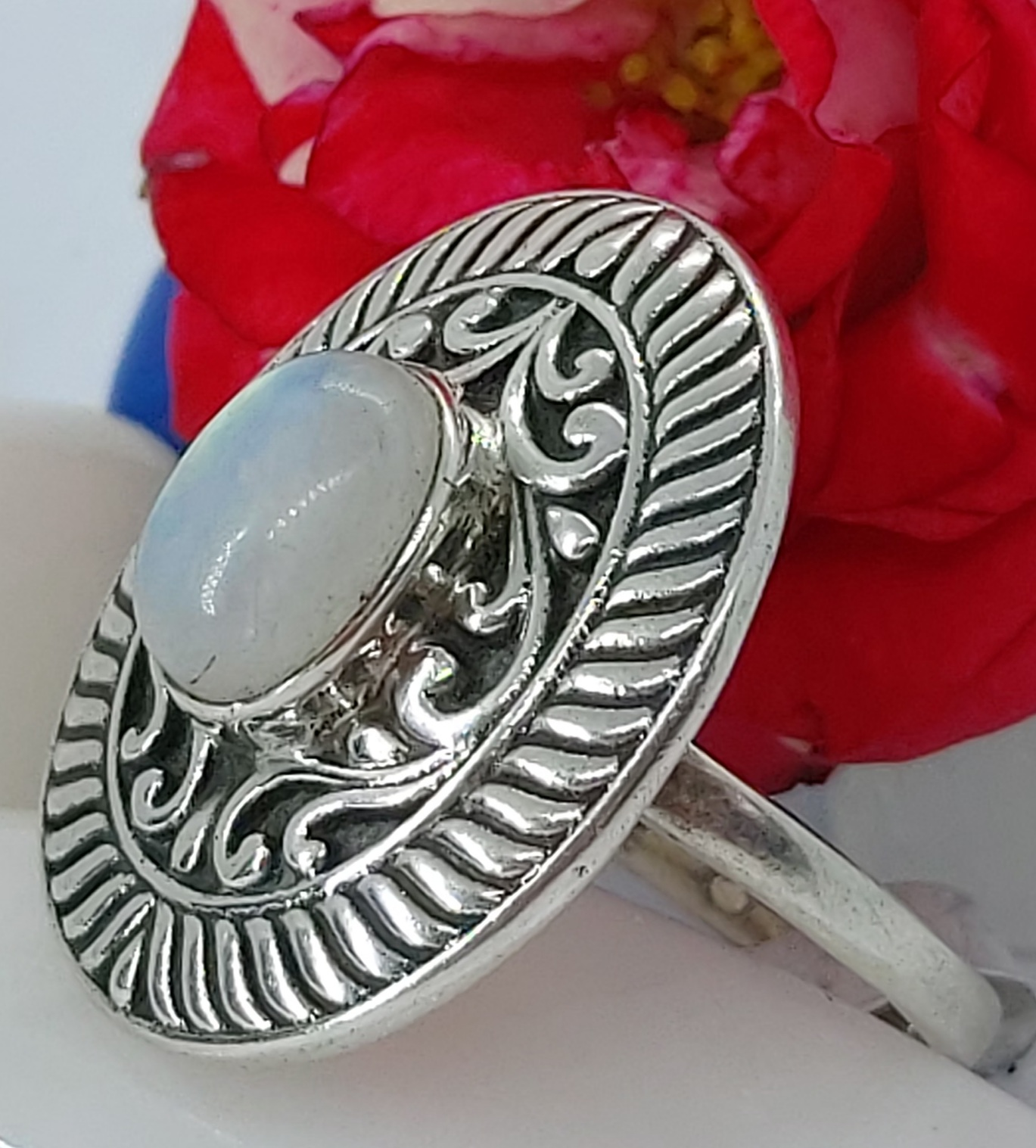 Sterling Silver Moonstone Ring size 8 Image
