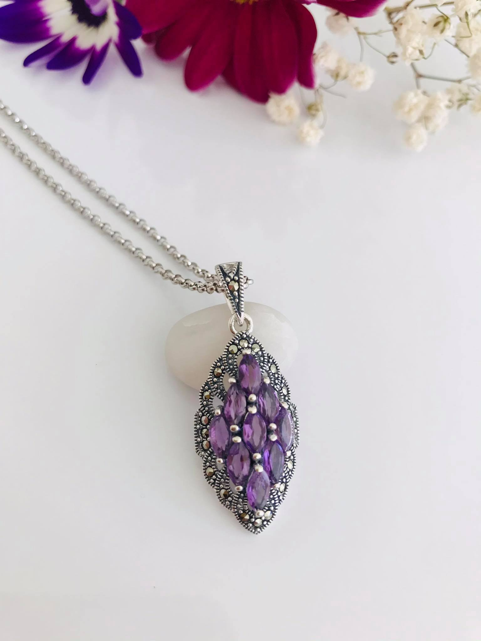 Amethyst and Marcasite Silver Necklace Image