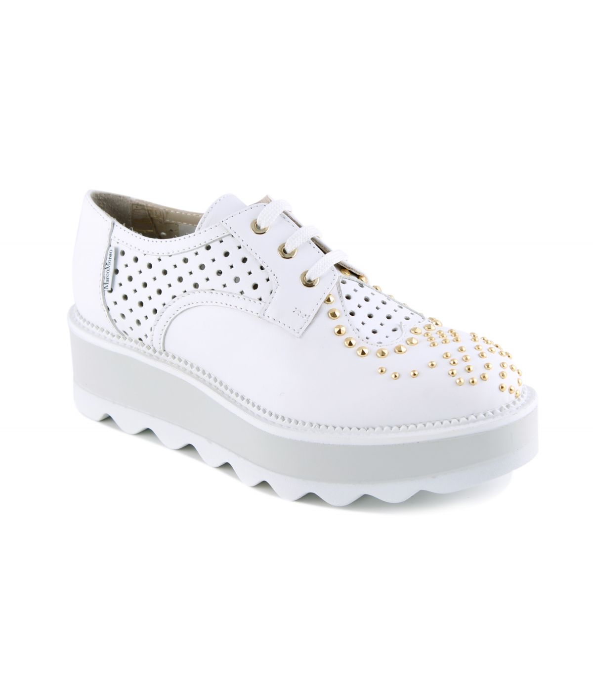 MARCO MOREO White Leather Wedge Brogue Dee Image