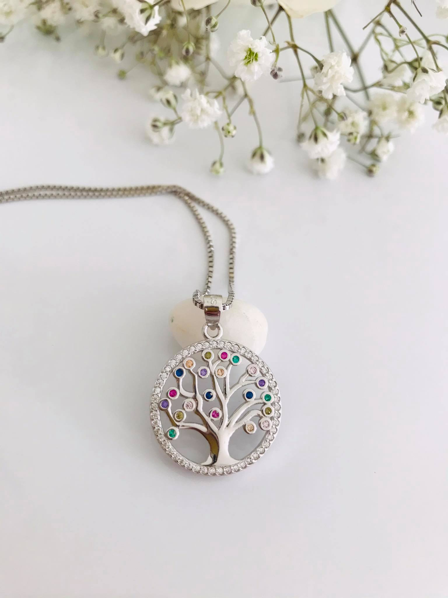 Multi Colour Tree of life sterling silver necklace 18 inch chain Image