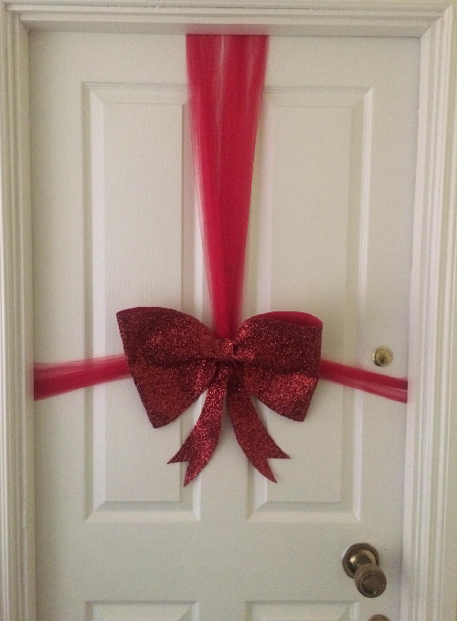 Red Glitter Christmas Door Bow Image