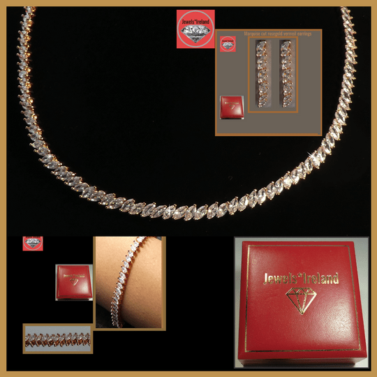 Marquise rose gold vermeil necklace earrings and bracelet Image