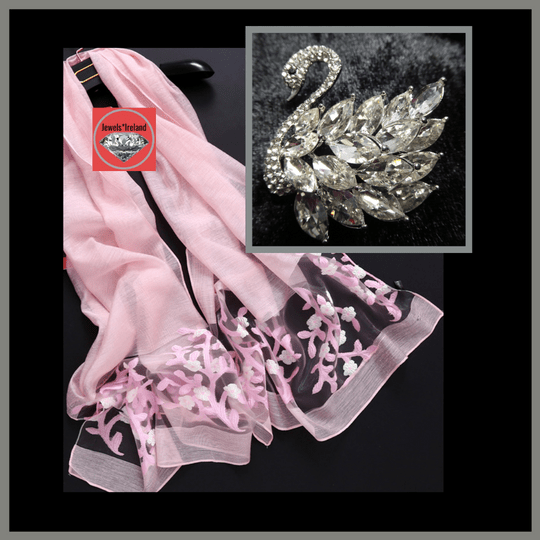 Beautiful swan crystal brooch and embroidery style scarf Free postage. Ideal festive gift.  Image
