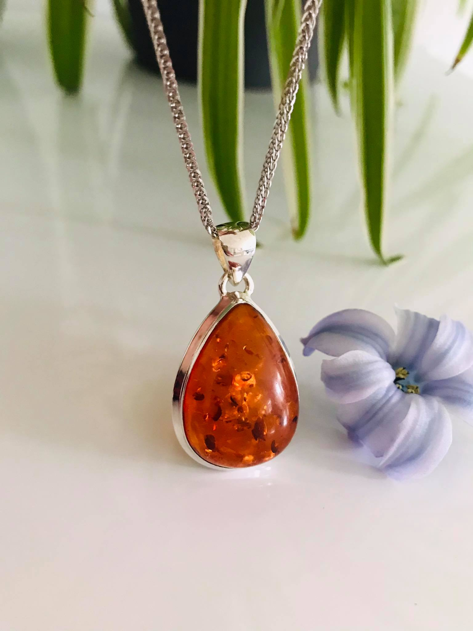 Beautiful Pear drop Natural Baltic  Amber Sterling Silver 18 inch Chain Image