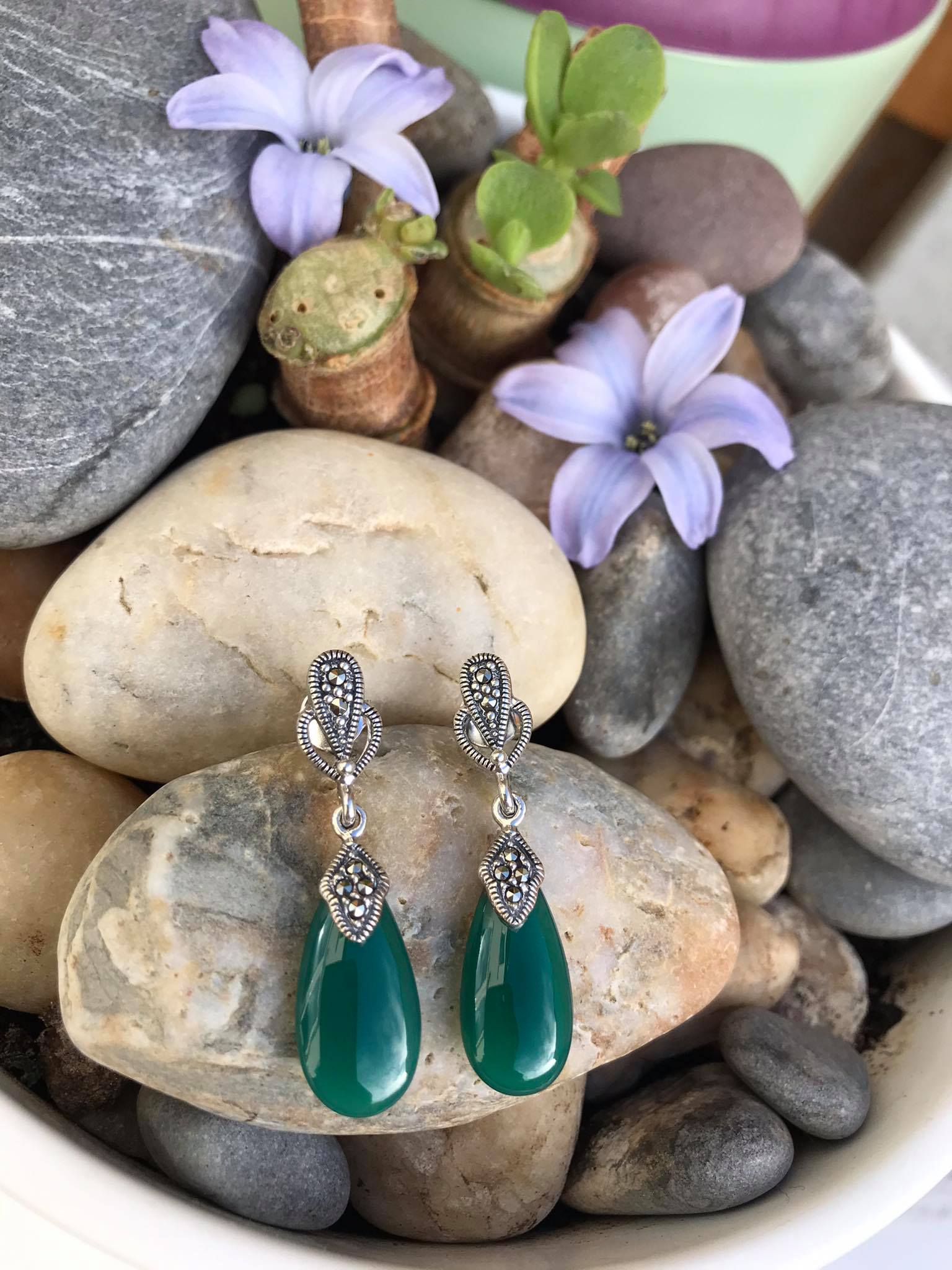 Beautiful High Polished Green Onyx with Swarovski Marcasite Sterling Silver Earrings Image