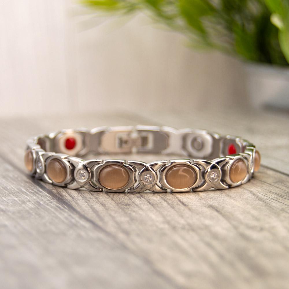 Willow Moon - Women's Magnetic Health Bracelet - Silver Colour Image