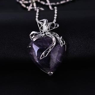 Amethyst Purple hearted shaped Quartz Pendant Image