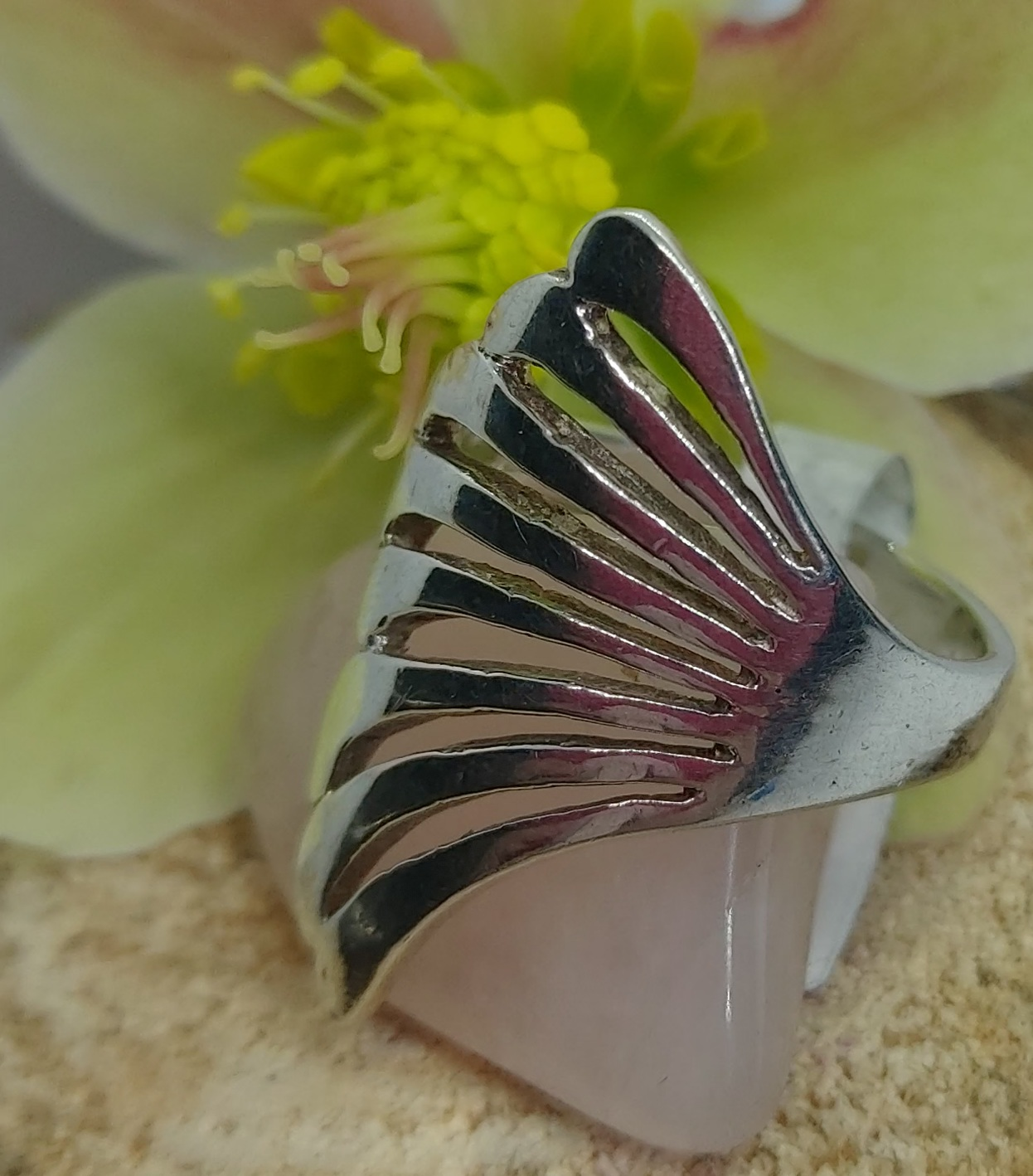 Sterling Silver Ring Angled size 8 Image