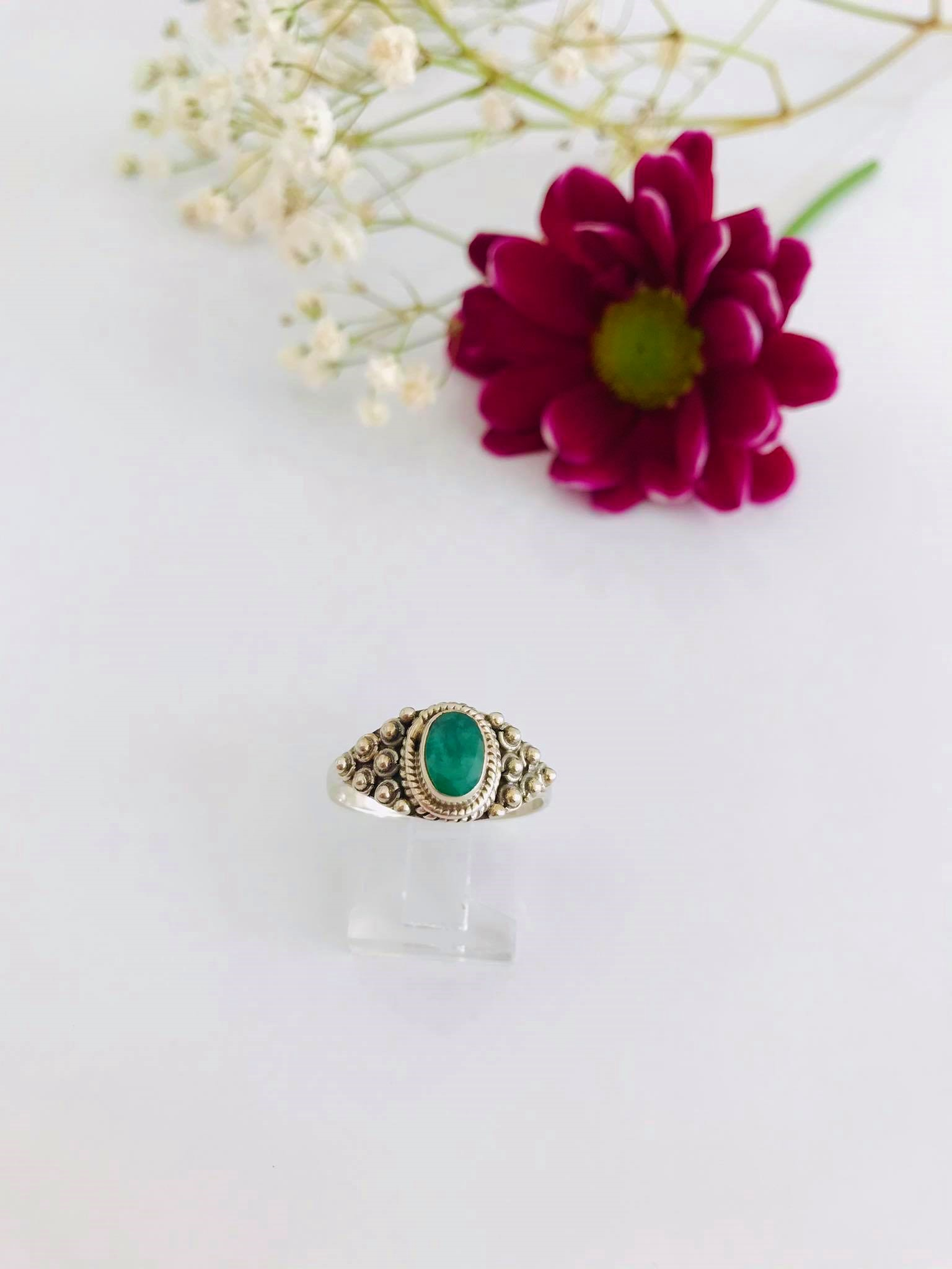 Emerald set in Silver Ring Image