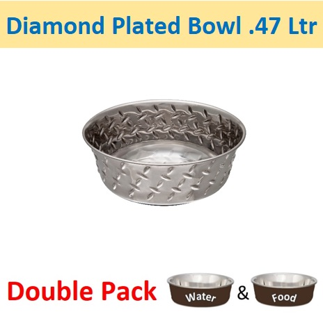 0.47L Diamond Plated Bowl w/ Non-Skid Base