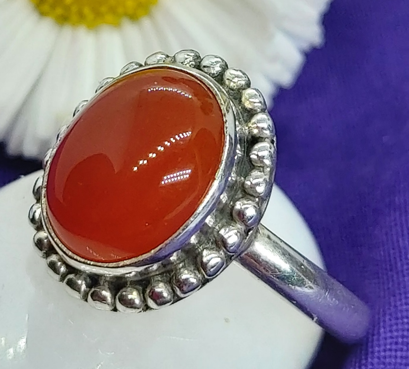 Sterling Silver Carnelian Ring Size 7 Image