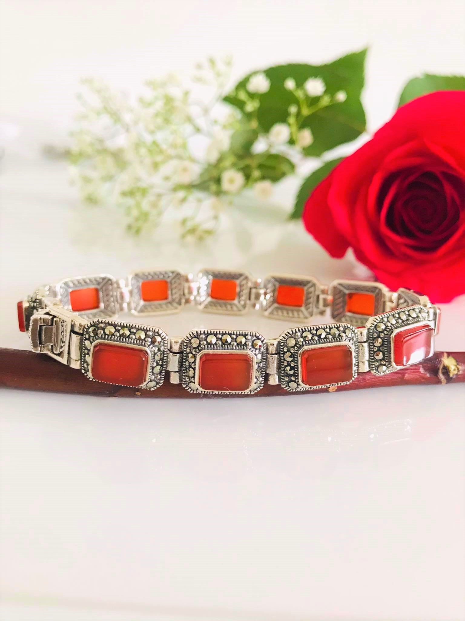 Stunning High Polished Natural Red Agate Surrounded by Sparking Marcasite Sterling Silver Bracelet Image