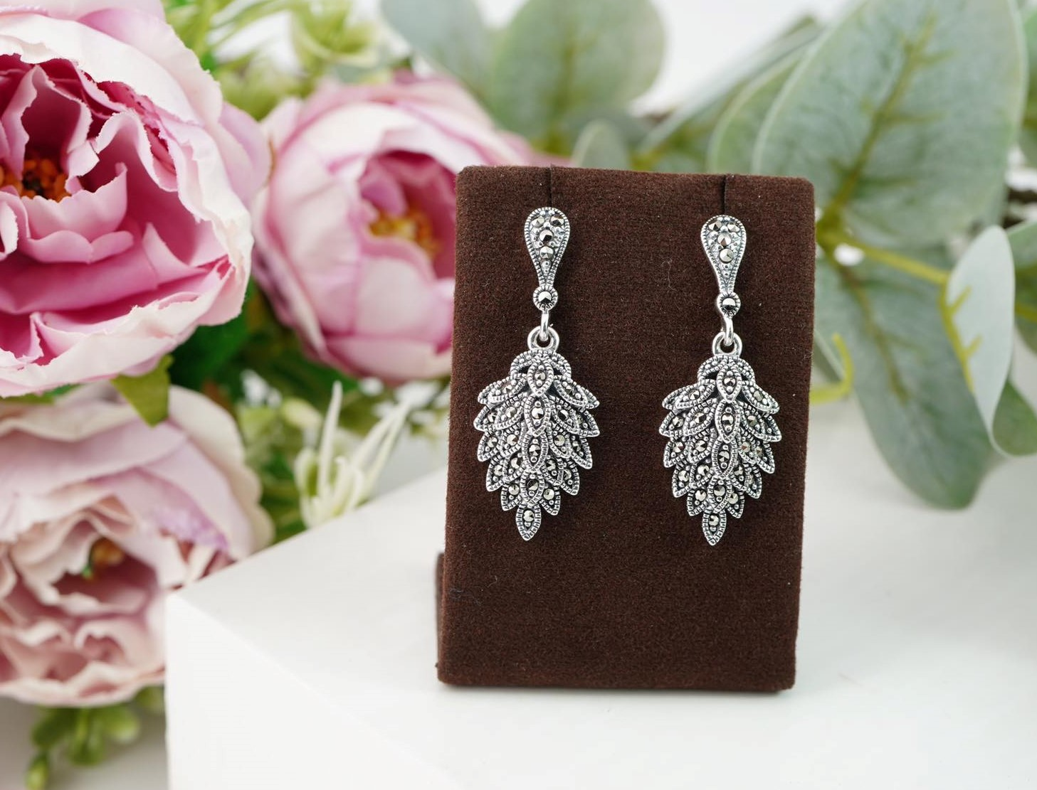 Lovely Sterling Silver Earrings with Swarovski Marcasite  Image