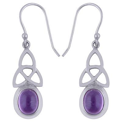 Sterling Silver Amethyst Earrings Trinity Knot  Image