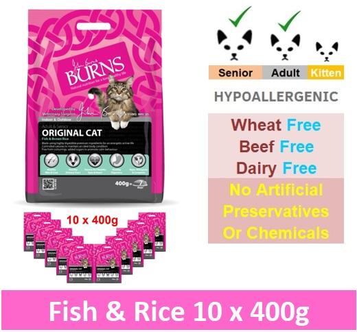 BURNS ORIGINAL CAT - FISH & BROWN RICE (10 x 400G) Image