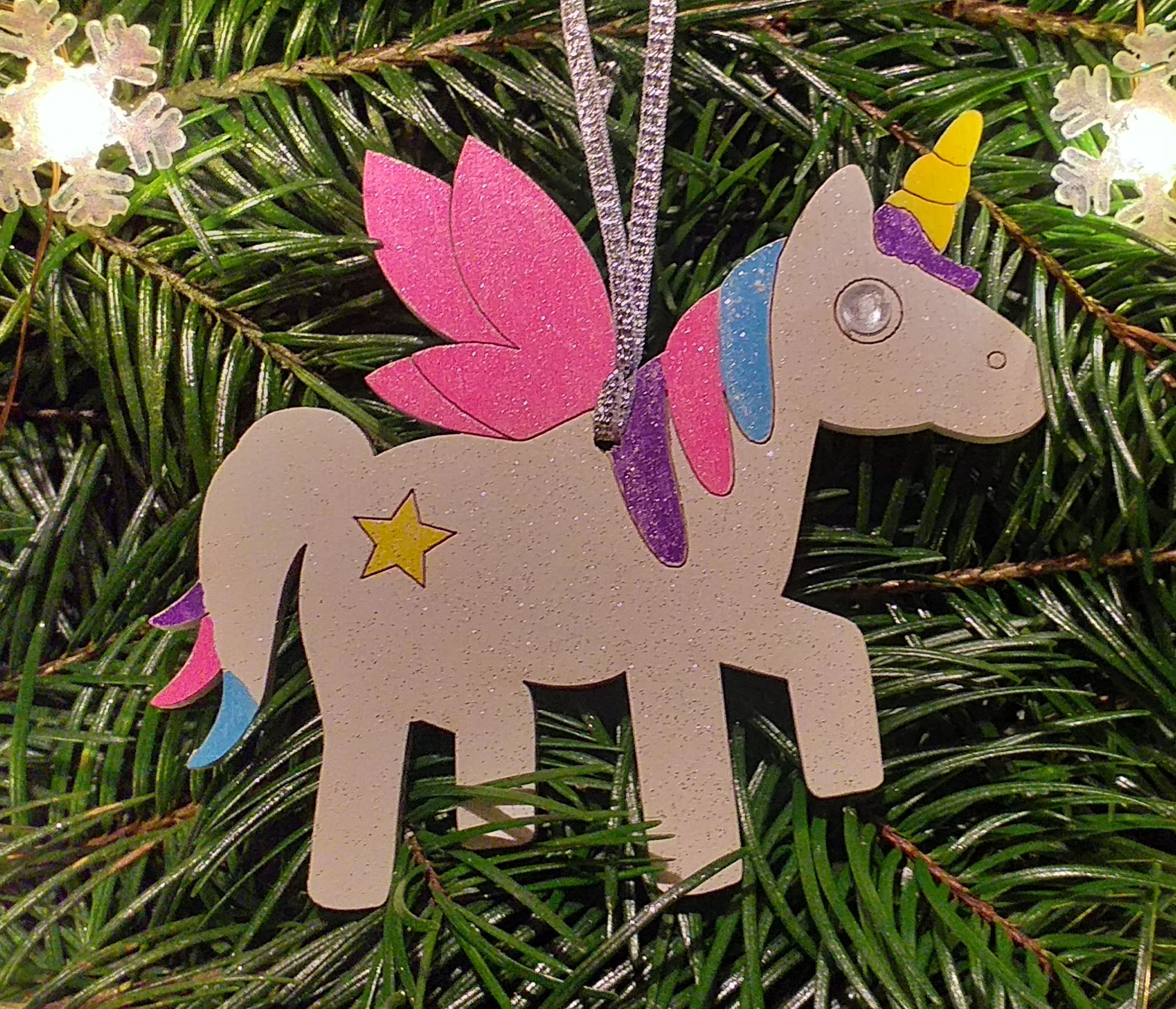 Wooden Unicorn Ornament Image