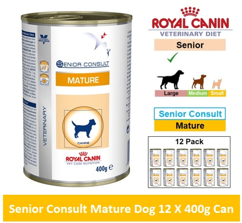 Royal Canin Veterinary Diet Senior Consult Mature Dog 12 X 400g Can Image