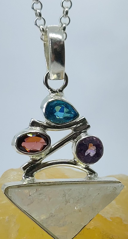 "Sterling Silver Moonstone Druzy Pendant Garnet Amethyst Blue Topaz on 20"" chain  Image"