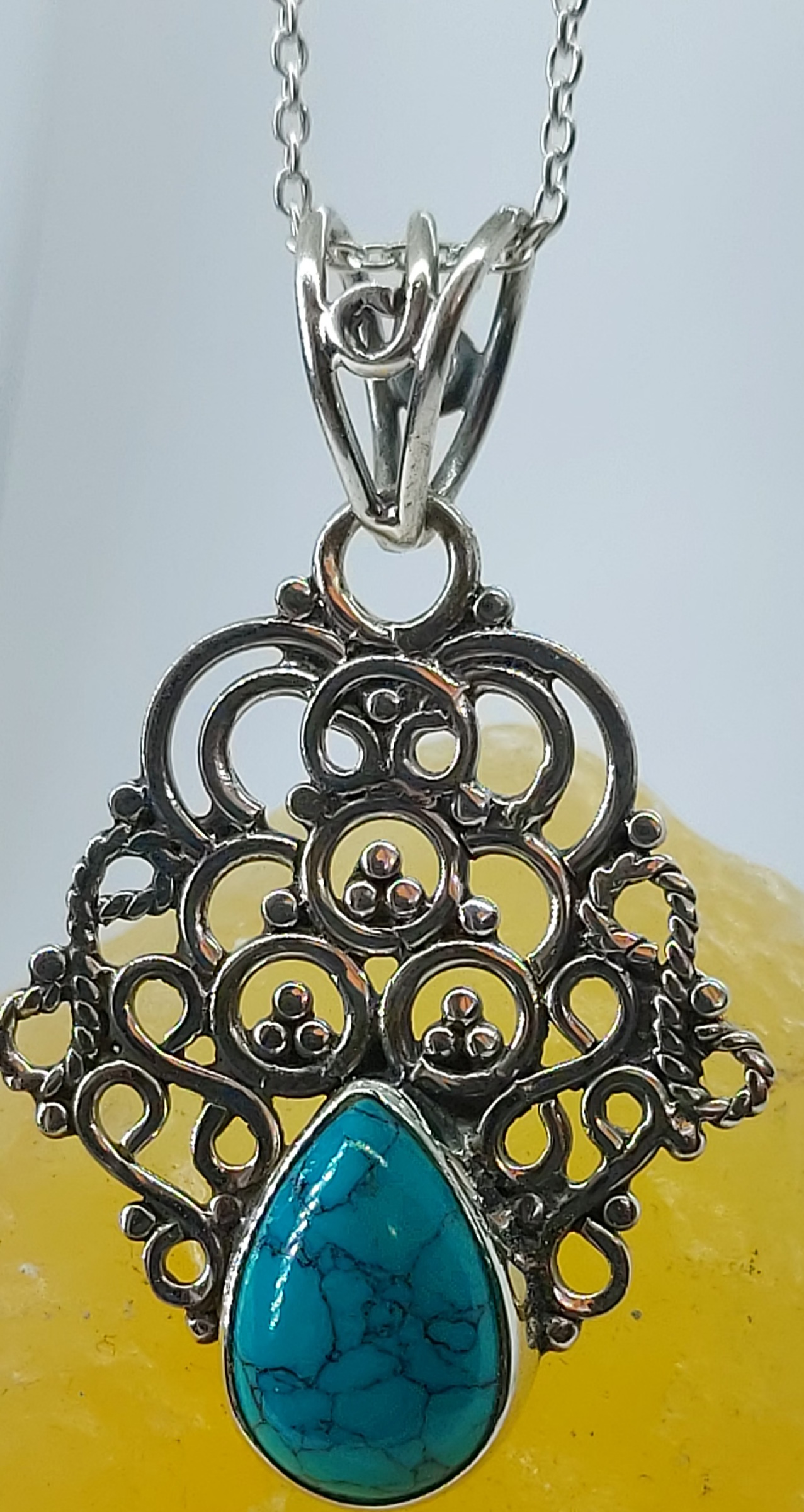 """Sterling Silver Turquoise Pendant 20"""" Chain Image"""