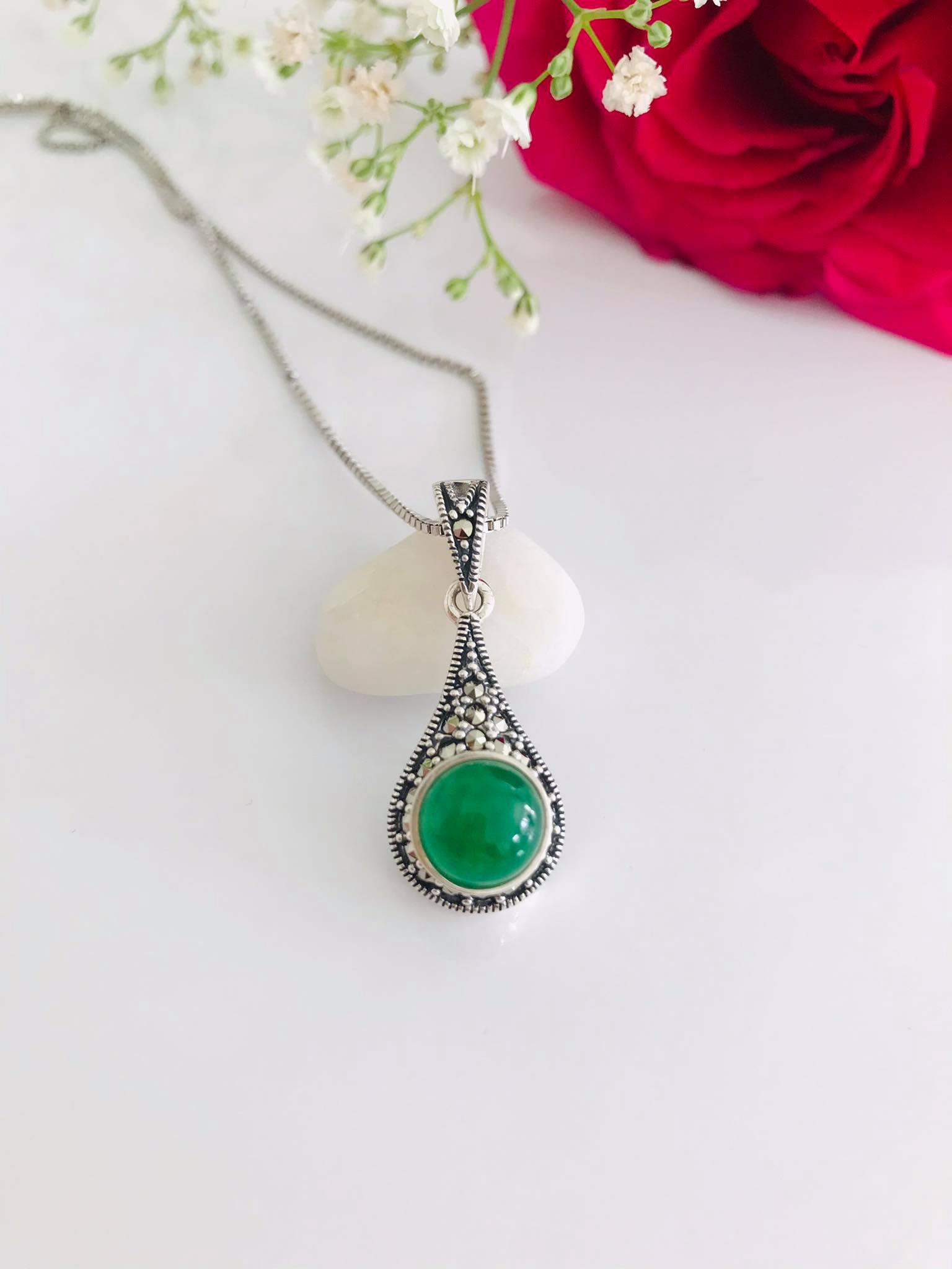 Natural Burmese Jade Marcasite Sterling Necklace Image