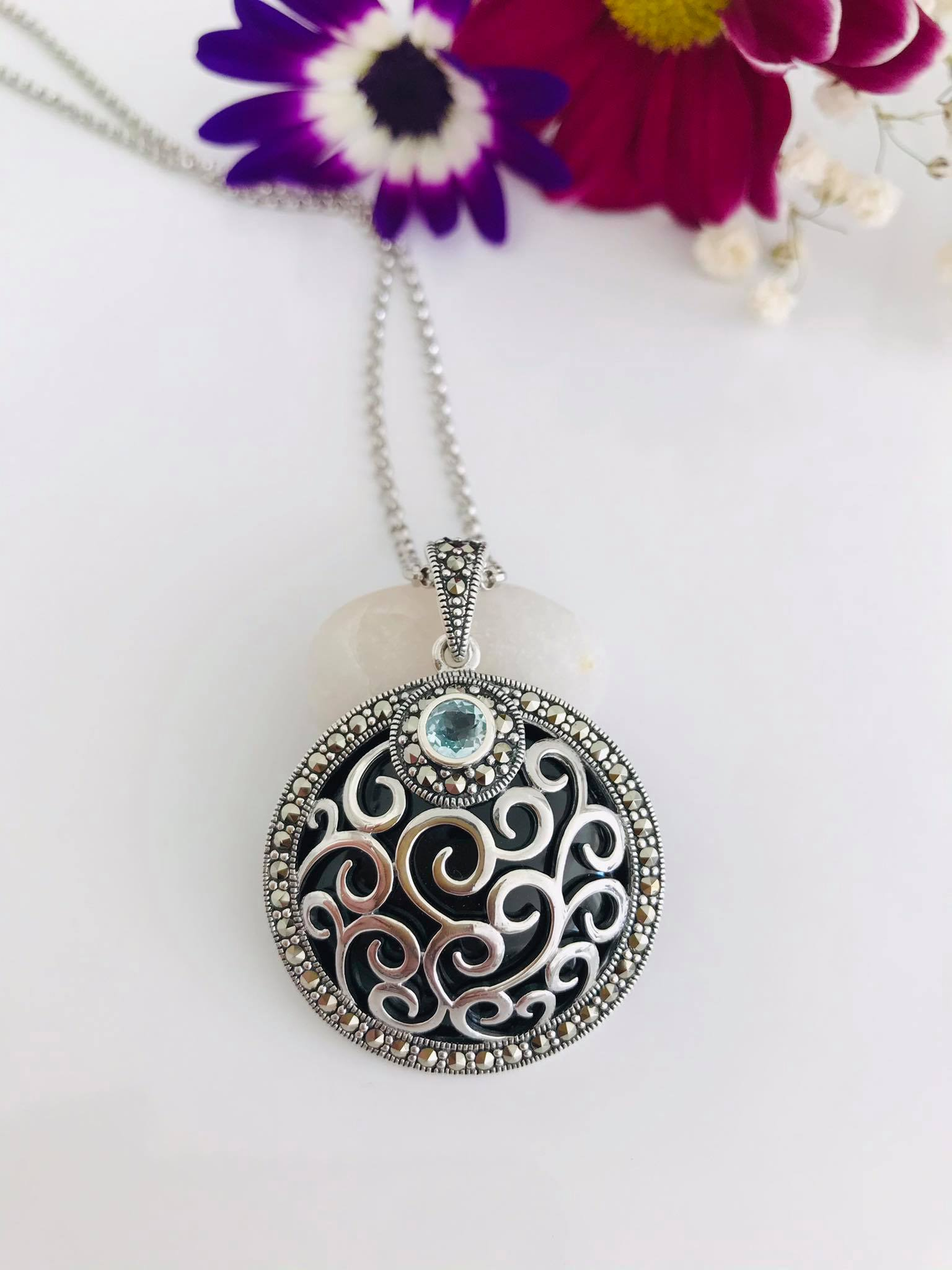 Large Round Black  Onyx &Blue Topaz Pendant With Silver Chain/Free Shipping Image