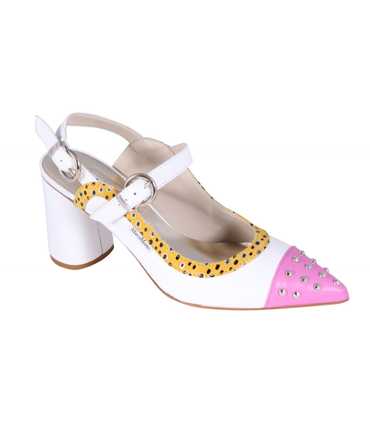 MARCO MOREO Marzia White Pointed Toe Sandal With Pink Toecap Image