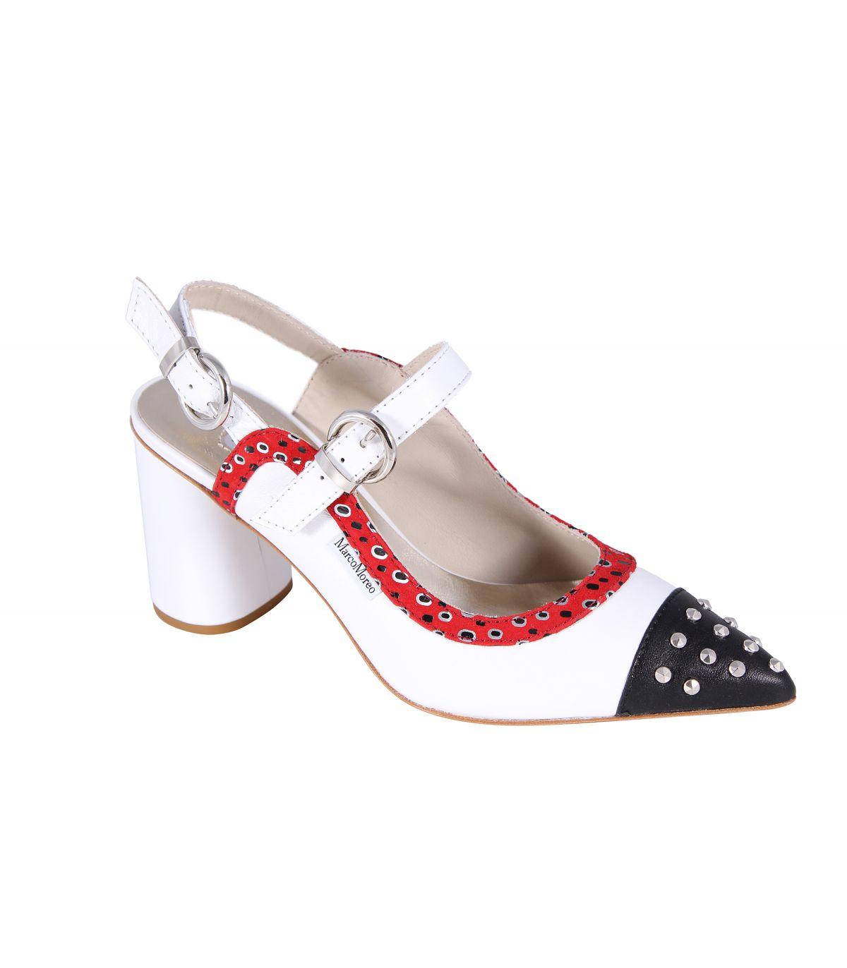 MARCO MOREO Marzia White Pointed Toe Sandal With Navy Toecap Image