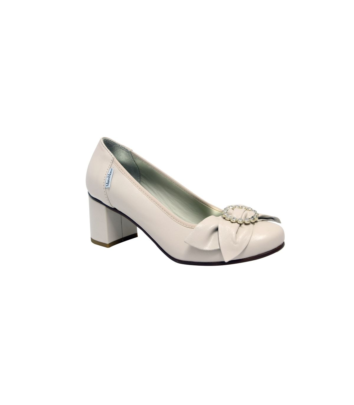 MARCO MOREO Cream Leather Block Heel With Bow Detail Image