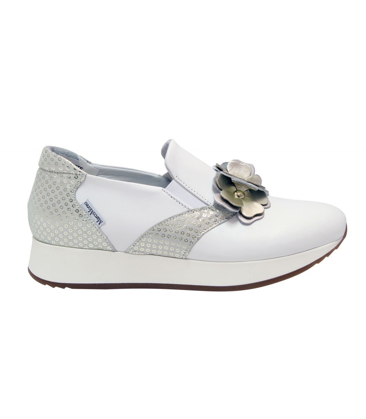 MARCO MOREO White leather slip on  with flower detail  Enrica Image
