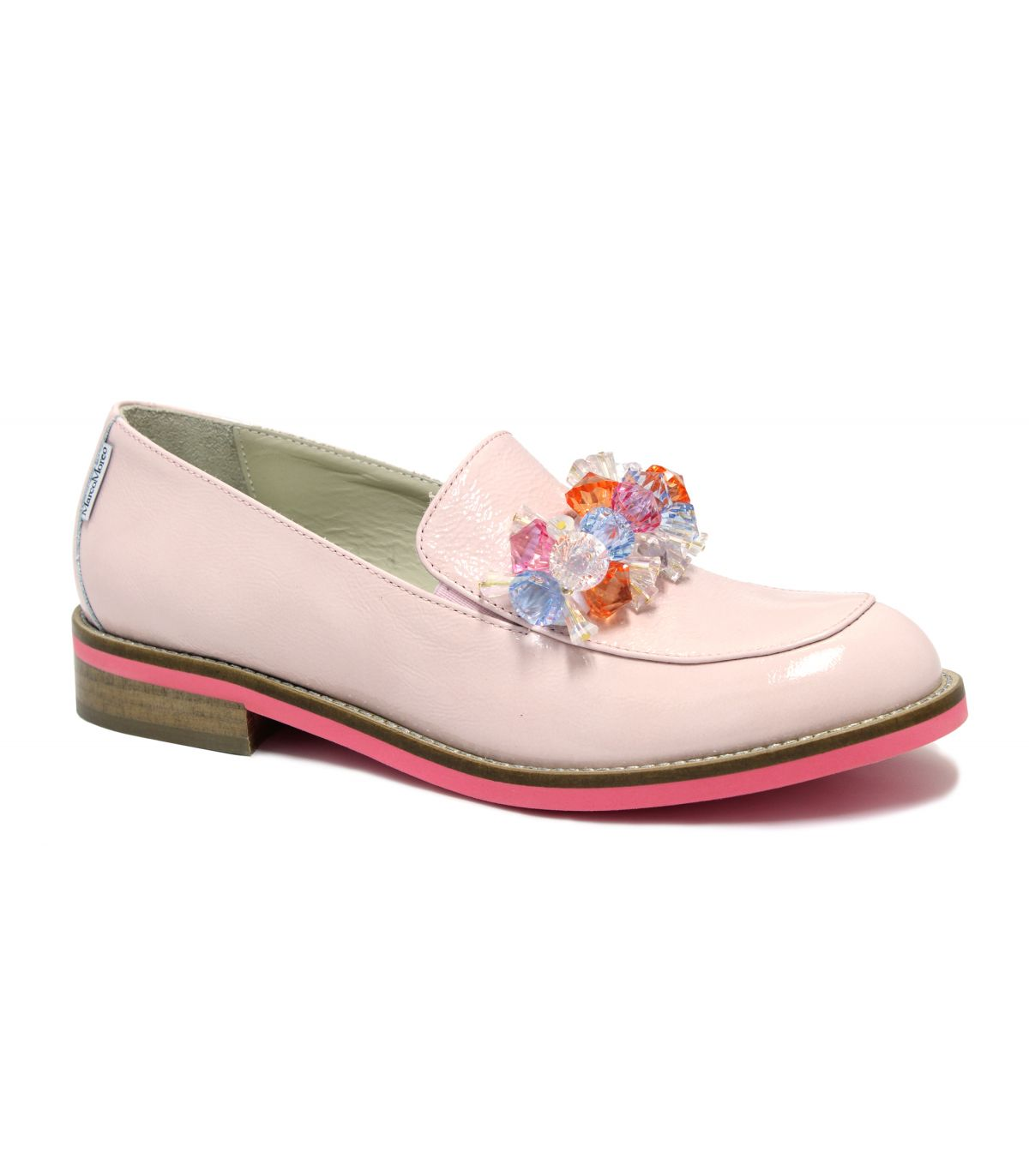 MARCO MOREO Pale Pink Patent Loafer With Jewels Lynn Image