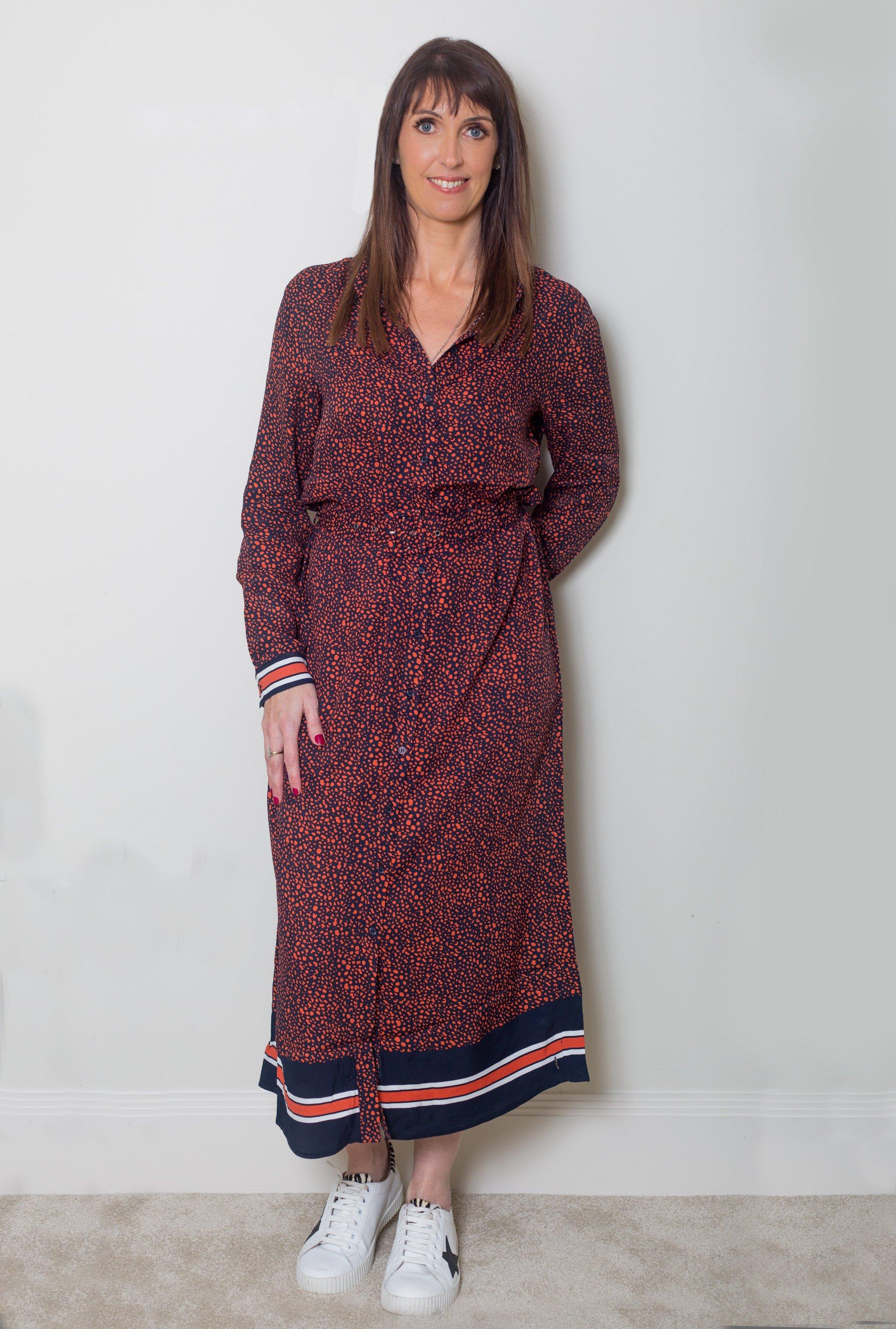 COSTER COPENHAGEN LONG SHIRT DRESS IN RAIN PRINT Image