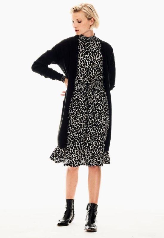 GARCIA BLACK DRESS WITH GIRAFFE PRINT & LONG SLEEVES Image
