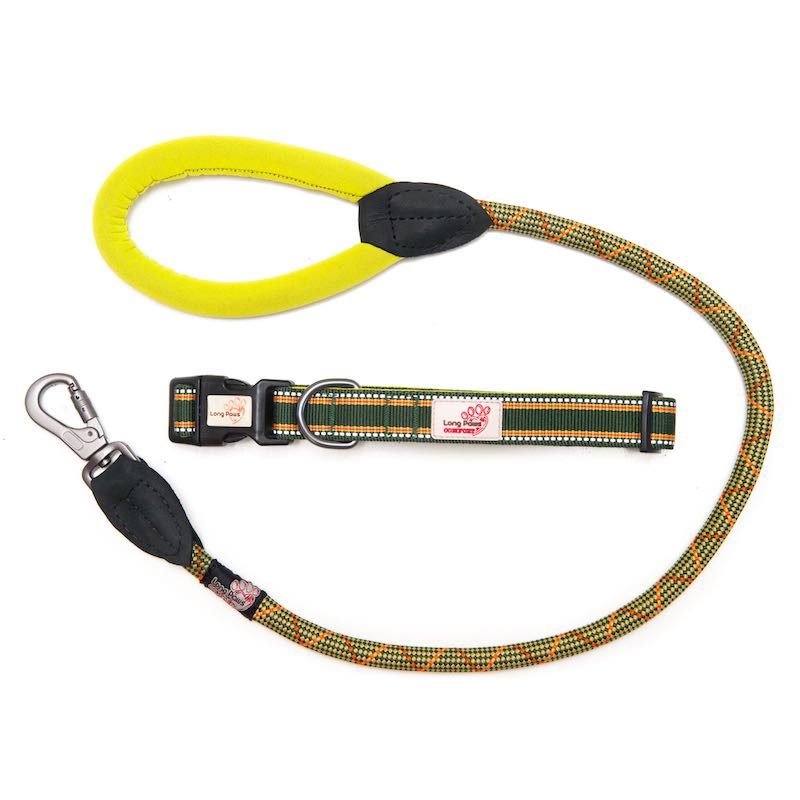 Long Paws Comfort Rope Leash with Matching Collar Green Extra Small/Short Image