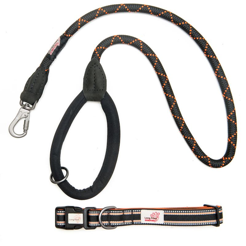 Long Paws Comfort Rope Leash with Matching Collar Black Extra Small/Short Image