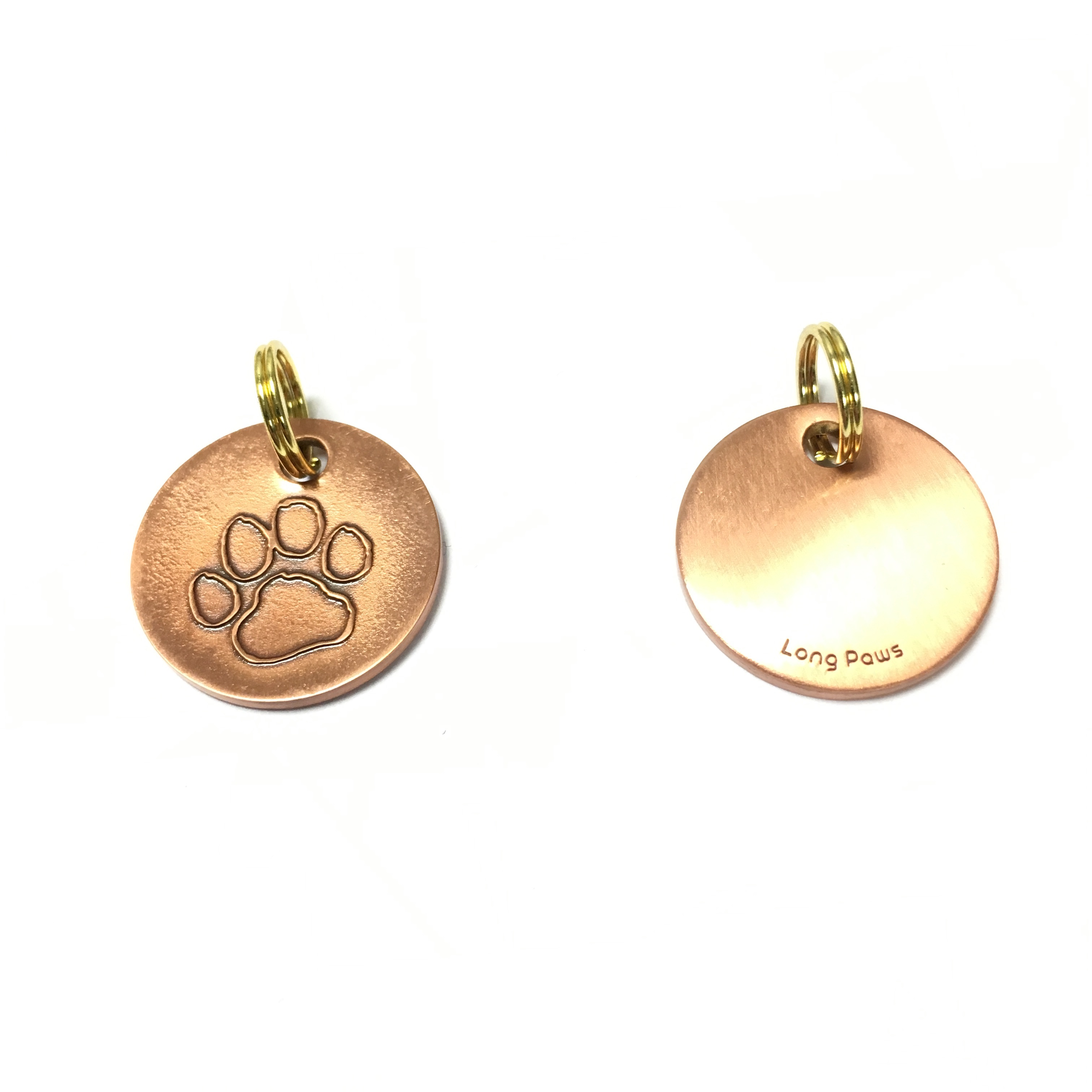 Long Paws Antique Copper Dog tag with a Paw Design Image