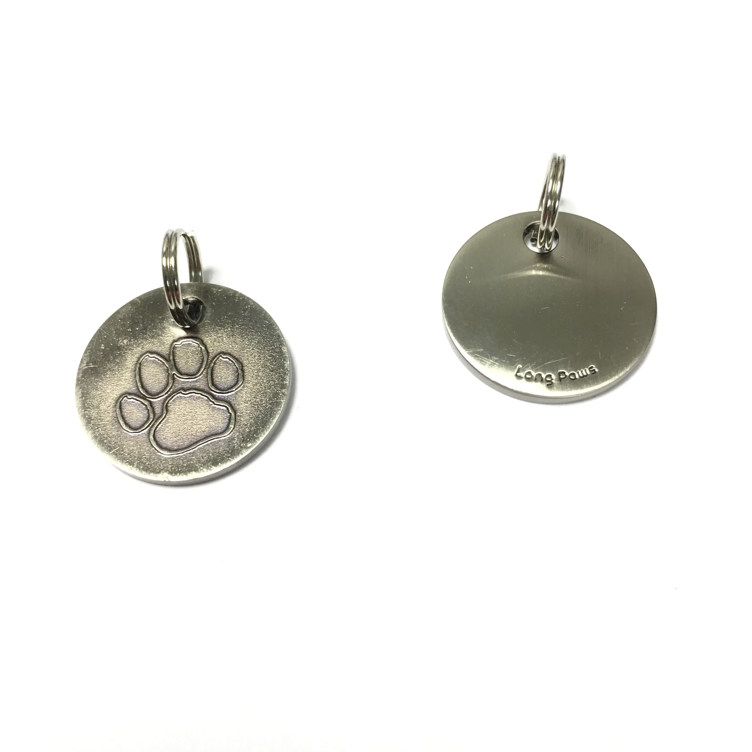 Long Paws Antique Nickel Plated Dog tag with a Paw Design Image