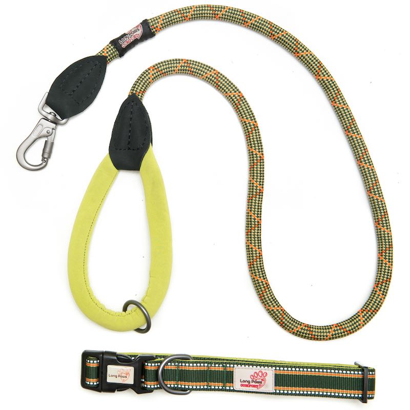 Long Paws Comfort Rope Leash with Matching Collar Green Small/Long Image