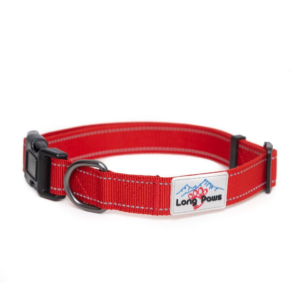 Long Paws Urban Trek Reflective Collar, Red, Large Image