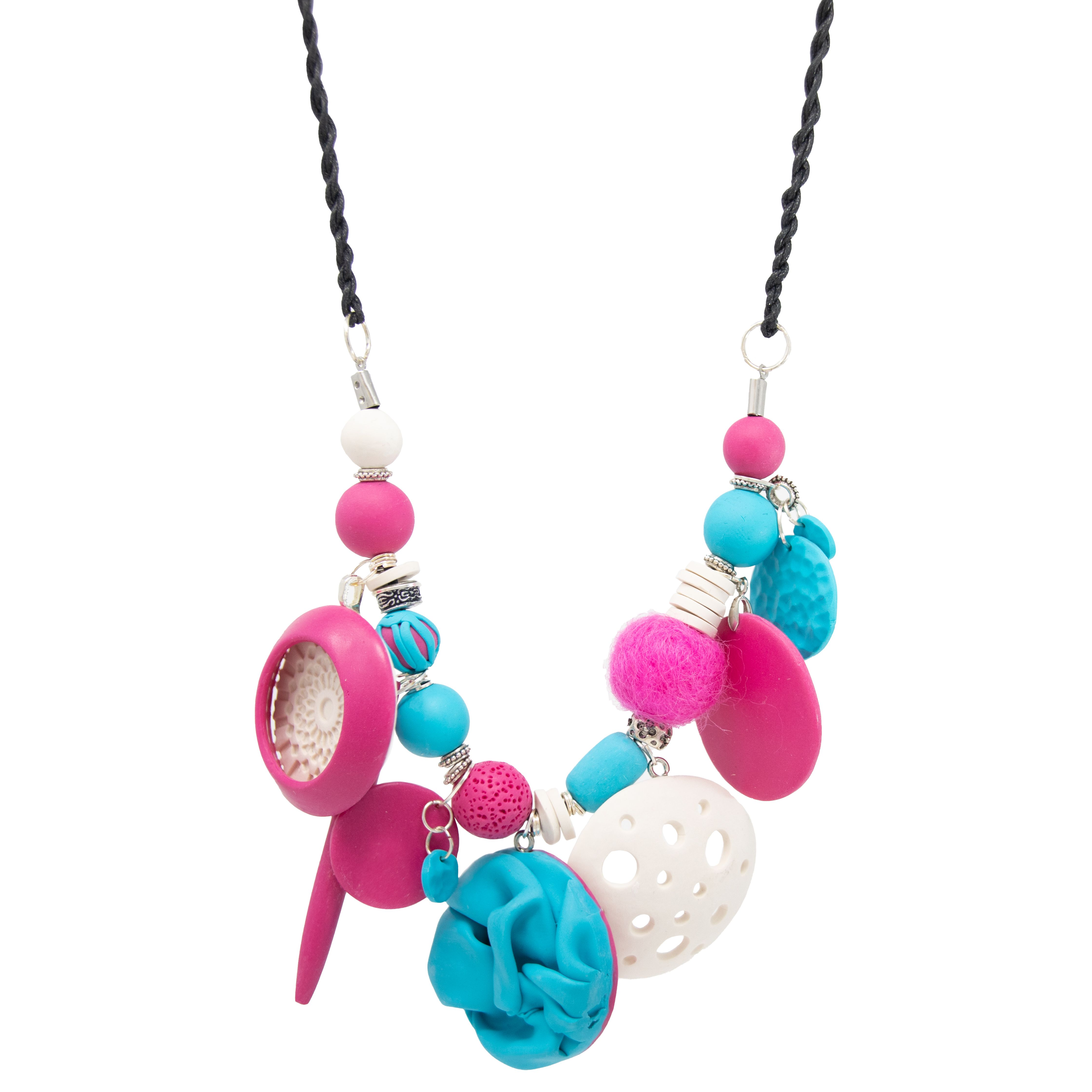 Busy polymer clay necklace Image